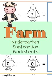 Work on some math skills with these farm kindergarten subtraction worksheets