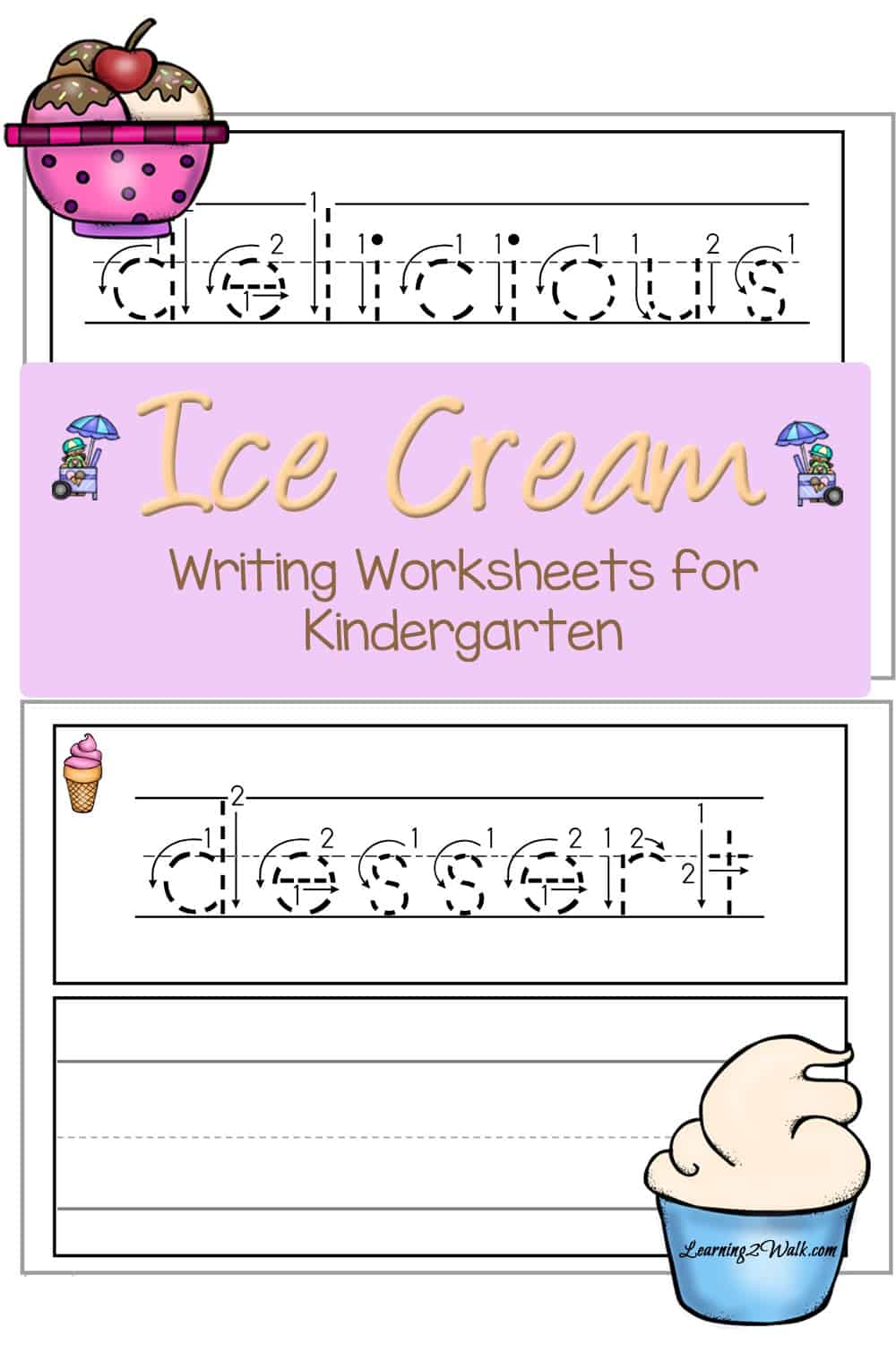 These free ice cream writing worksheets for kindergarten are perfect for helping your little one practice their writing as well as expanding their vocabulary!