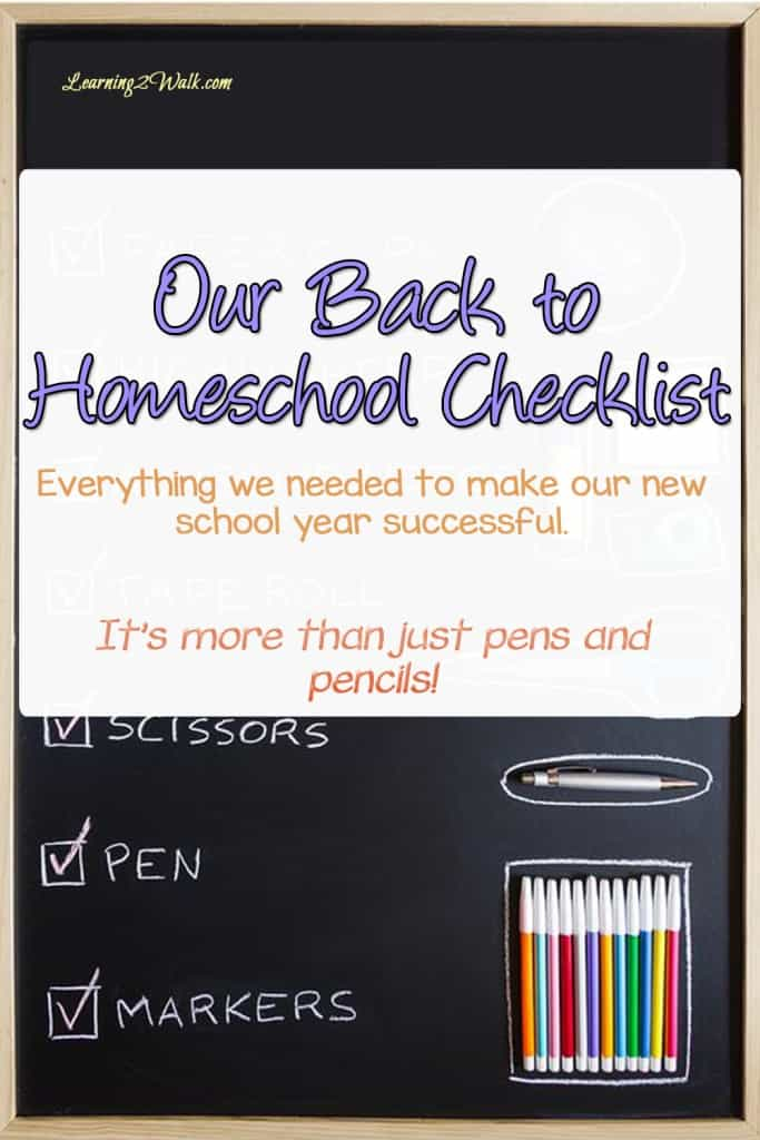This is our back to homeschool checklist that has a bit more that pens and pencils.. I hope it helps with your homeschool organization
