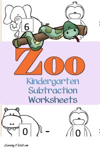 Help your kids work on their math skills with these zoo kindergarten subtraction worksheets