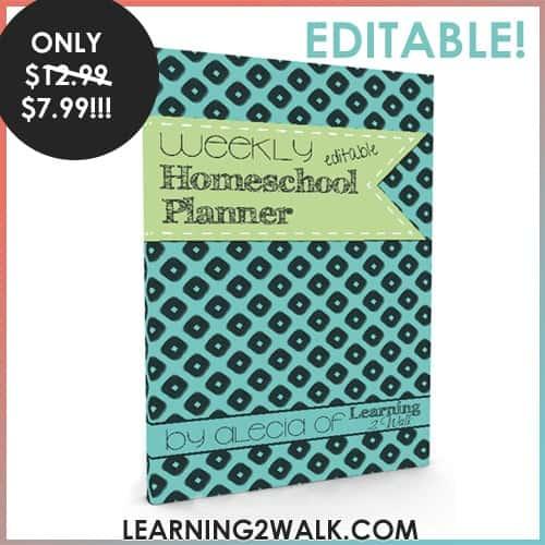 Weekly editable homeschool planner