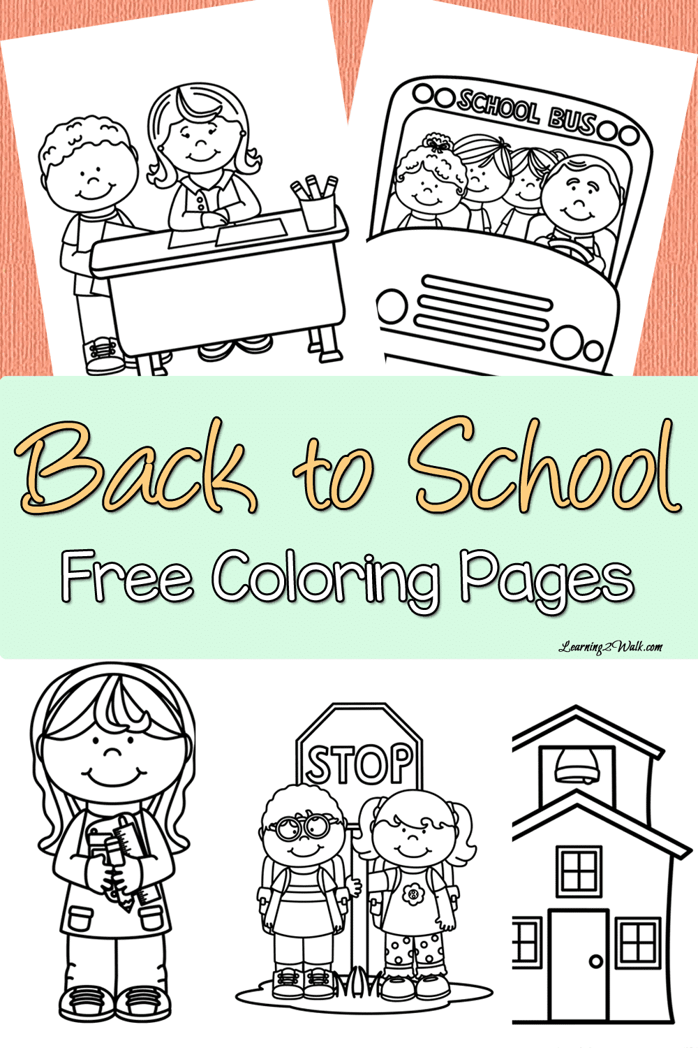 Back to school free coloring page set for Back to school coloring pages free printables