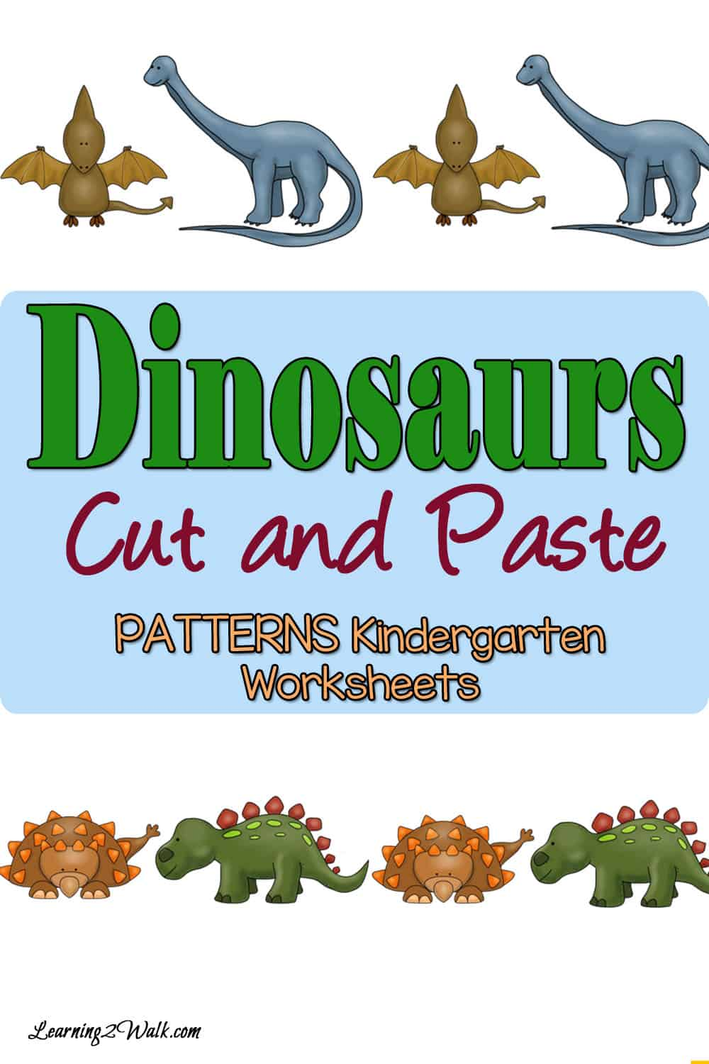Here are some free hands on dinosaurs cut and paste patterns worksheets for kindergarten that your kids will love.