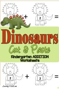 Dinosaurs cut and paste addition worksheets for kindergarten