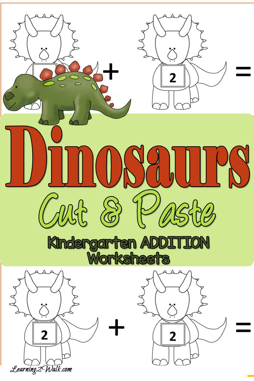 Cut and Paste Dinosaurs Addition Worksheets for Kindergarten