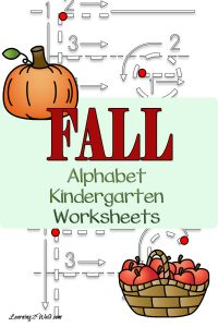 Fall alphabet kindergarten worksheets to work on writing those letters of the alphabet
