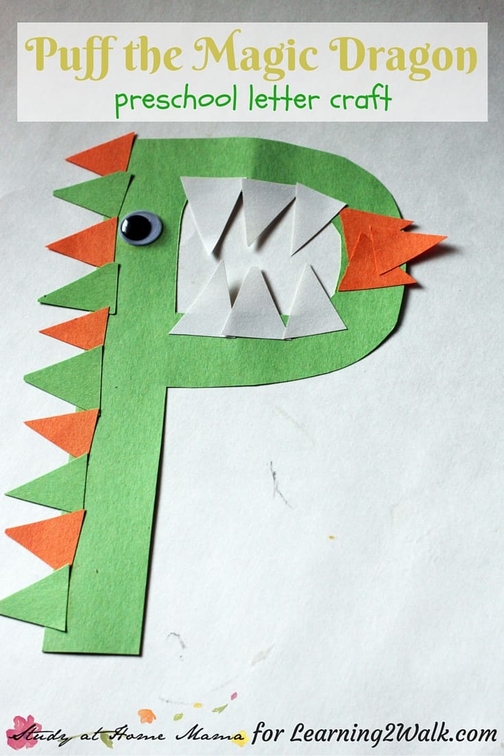 If you are looking for some fun preschool letter crafts for the letter p, try this Puff the Magic Dragon craft.