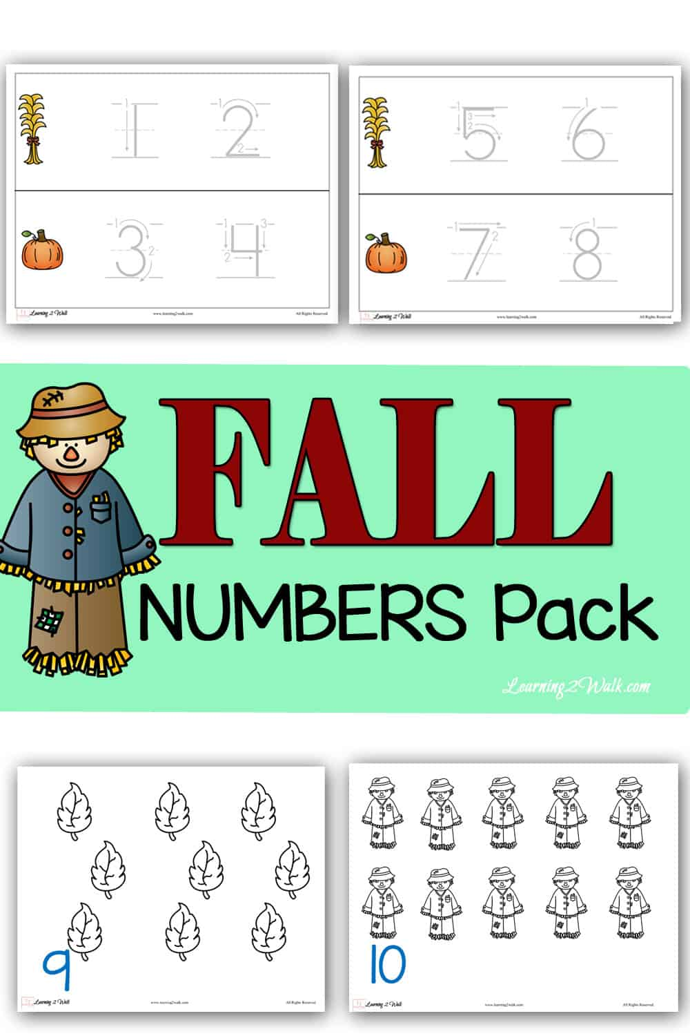 Welcome fall with these free fall numbers printable packs