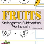 Allow your kids to cut and paste their way with theses free fruits kindergarten subtraction worksheets.