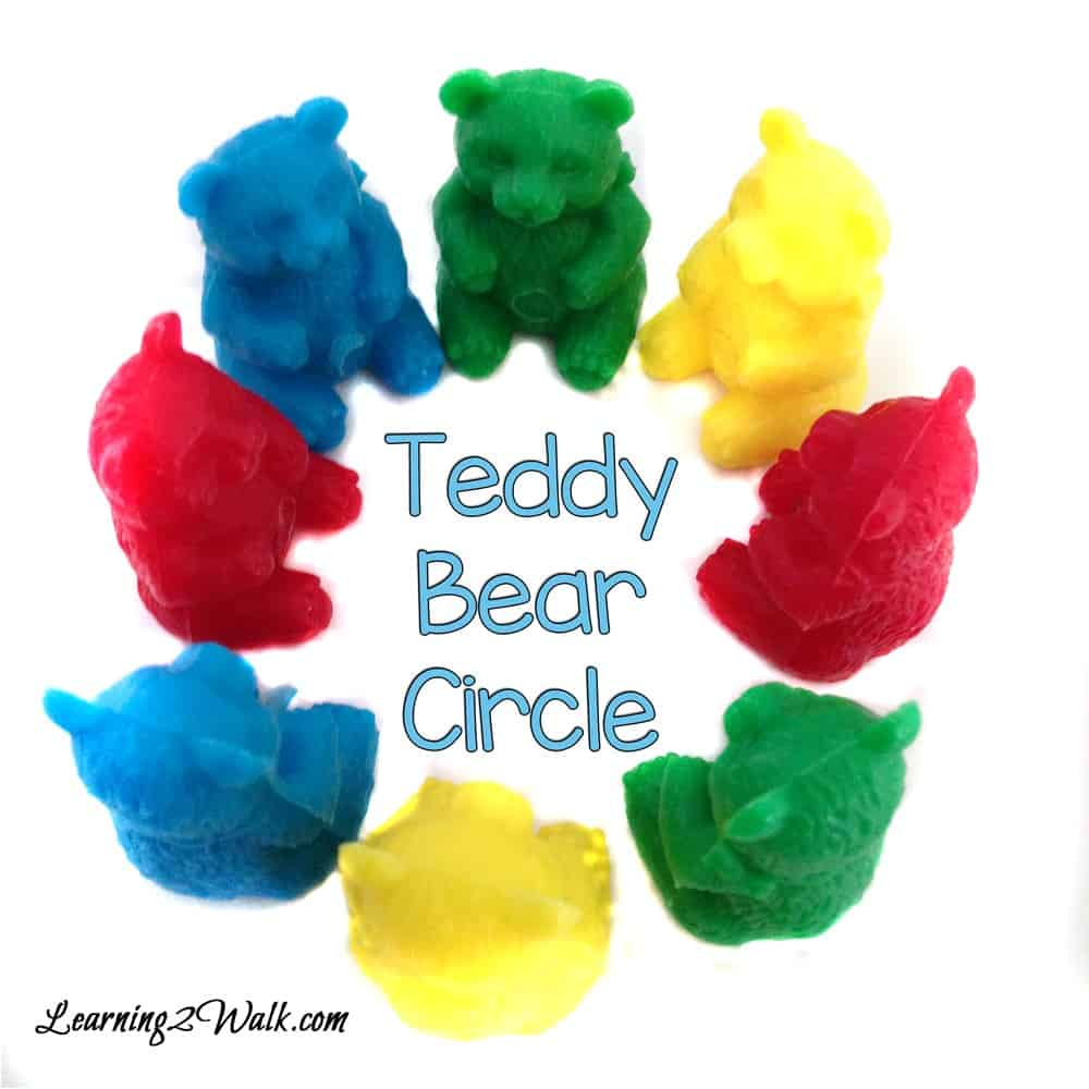 Teddy bear preschool theme was a hit with our teddy bear counters. Here is a circle that my daughter made from the teddy bears.
