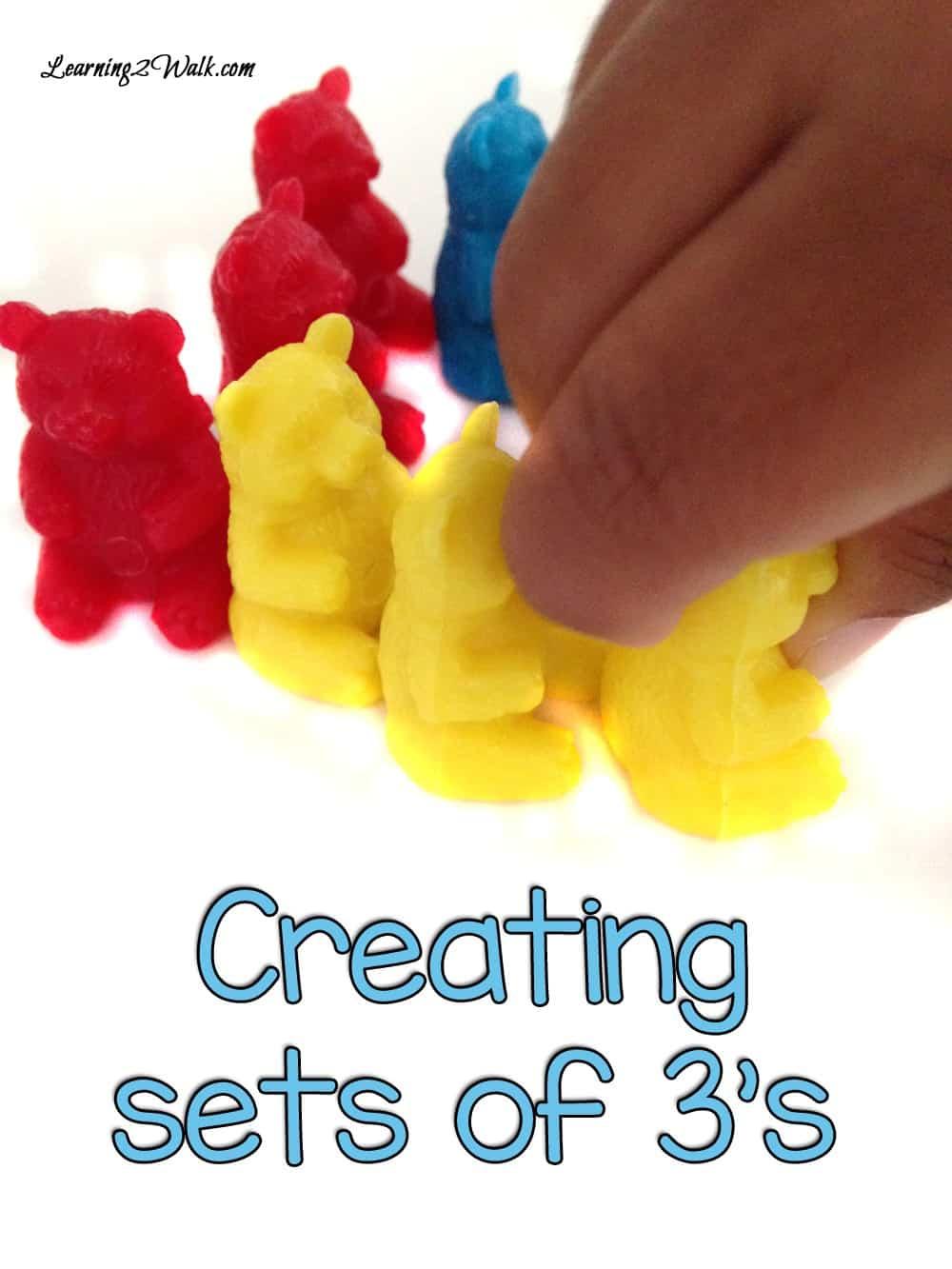 Create sets in your math activities for a fun teddy bear preschool theme.