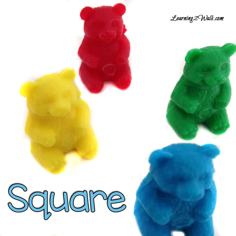 Create a square as one of the many teddy bear preschool theme activities that can be done.