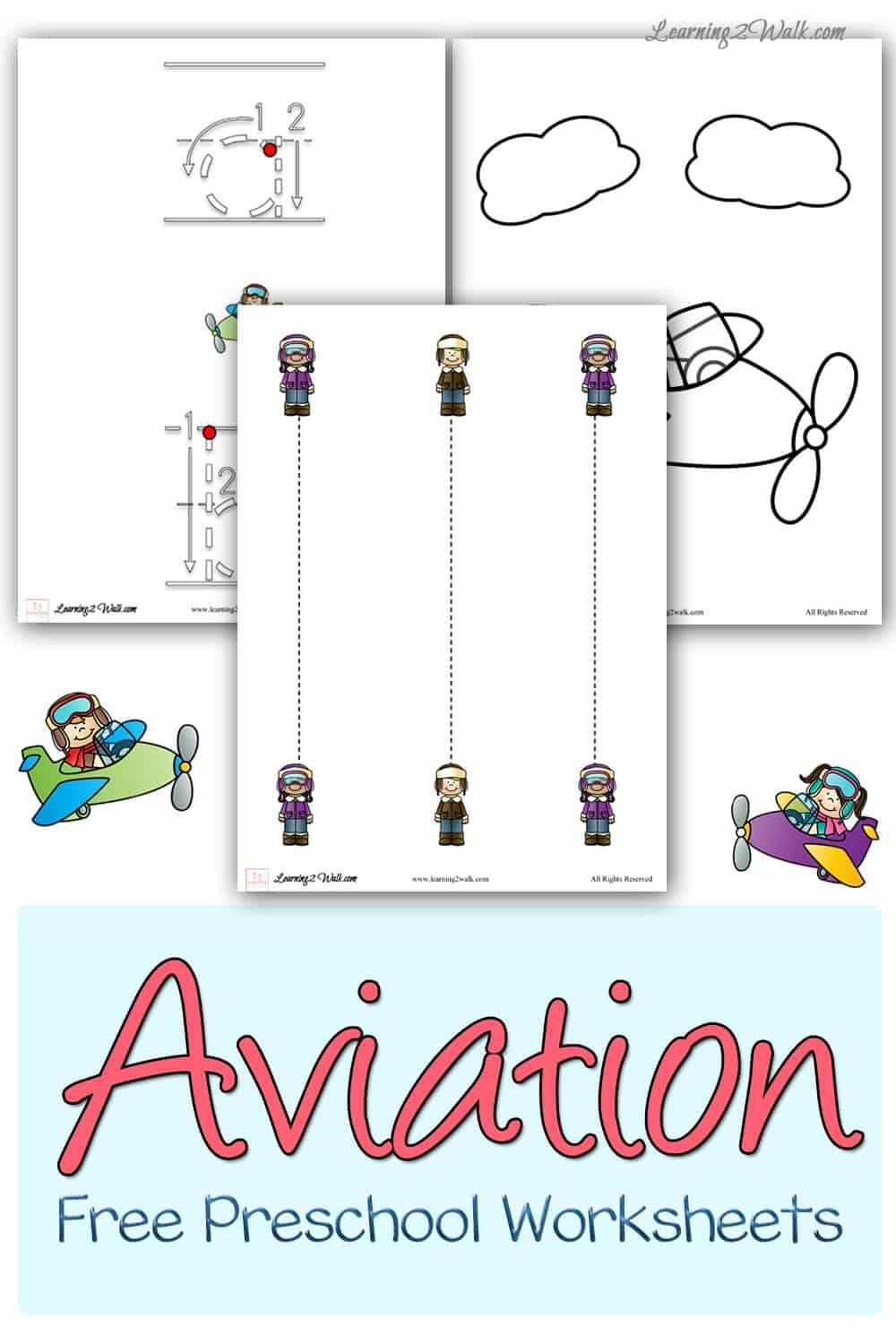 Looking for some aviation free preschool worksheets? This set includes tracing, coloring pages as well as writing pages.