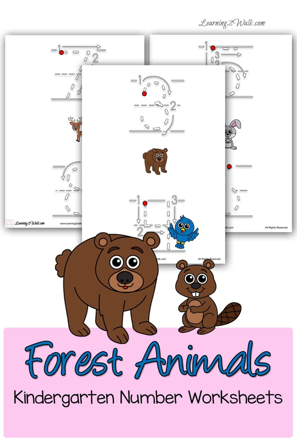 Work on writing the numerals with these free forest animals kindergarten number worksheets