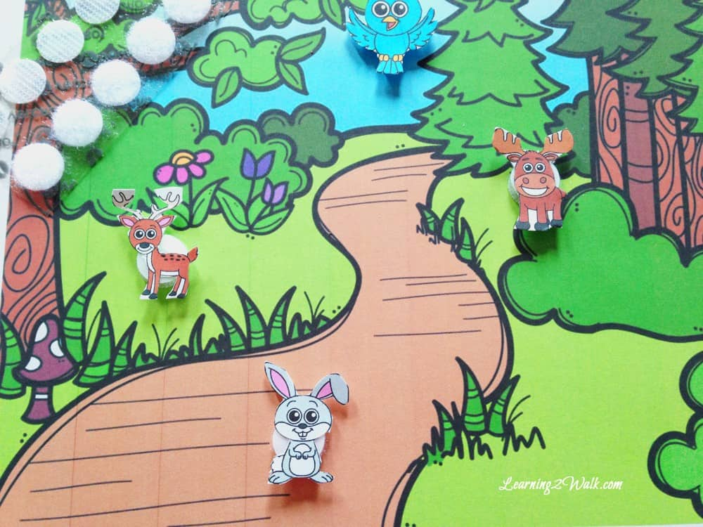 At first I wanted to create a sensory bin for our forest animals preschool theme but this movable scene printable became a hit in our preschool activities for the week.
