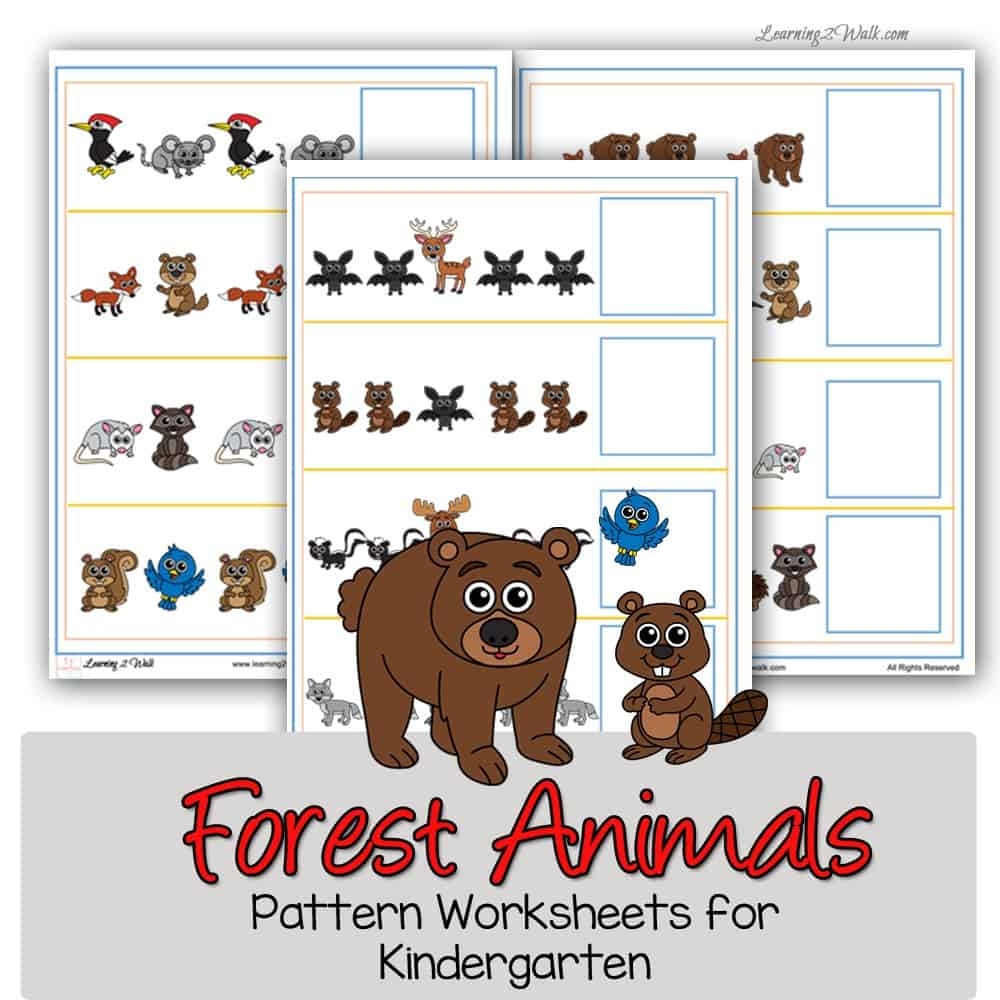 Working on recognizing and completing patterns can be a difficult concept to grasp. Use these free forest animals pattern worksheets for kindergarten to help.