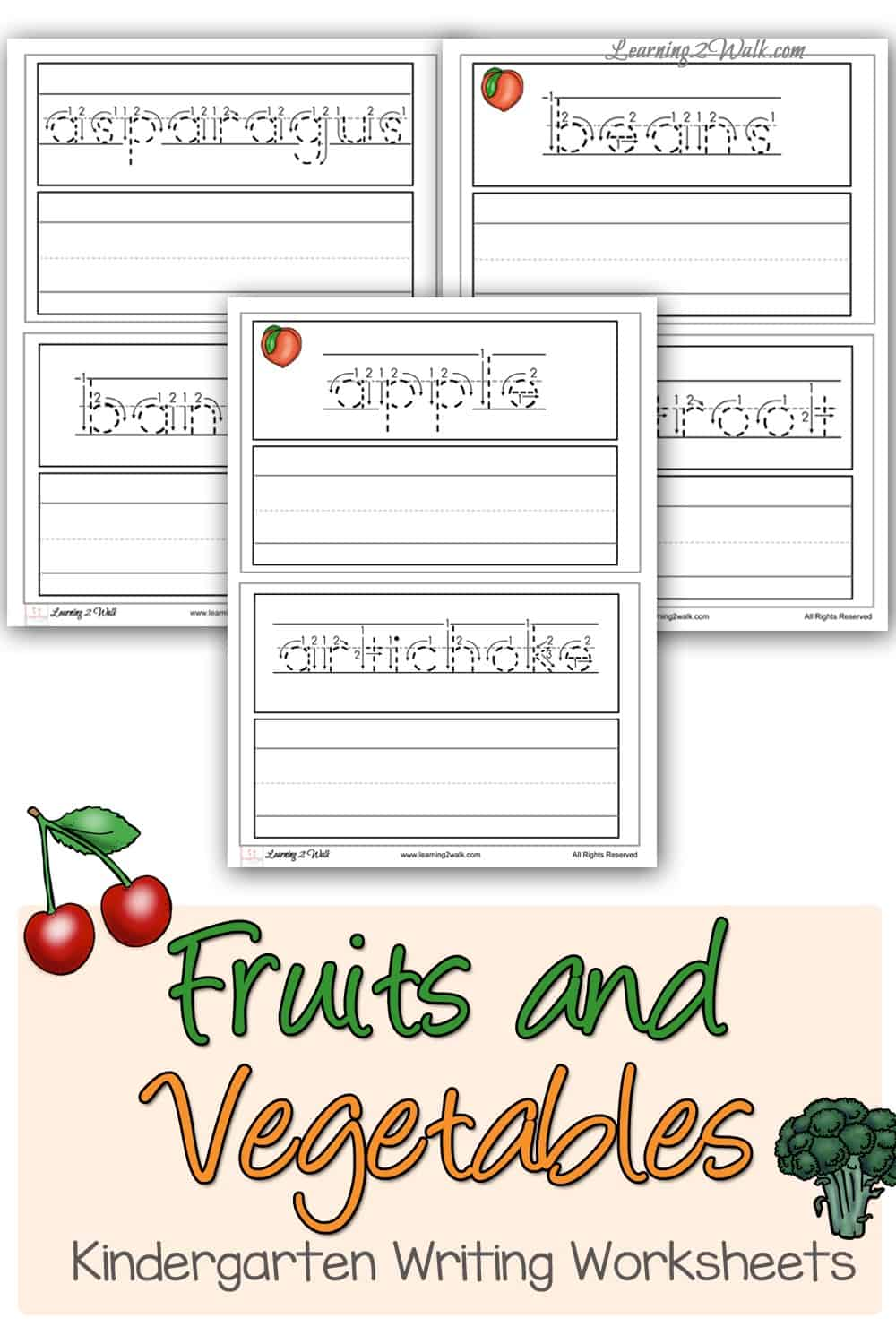Are you looking for some fruit and vegetable themed kindergarten writing worksheets? Try this free pack of free kindergarten handwriting worksheets as one of your activities. #freeprintablehandwritingworksheets #freekindergartenhandwritingworksheets