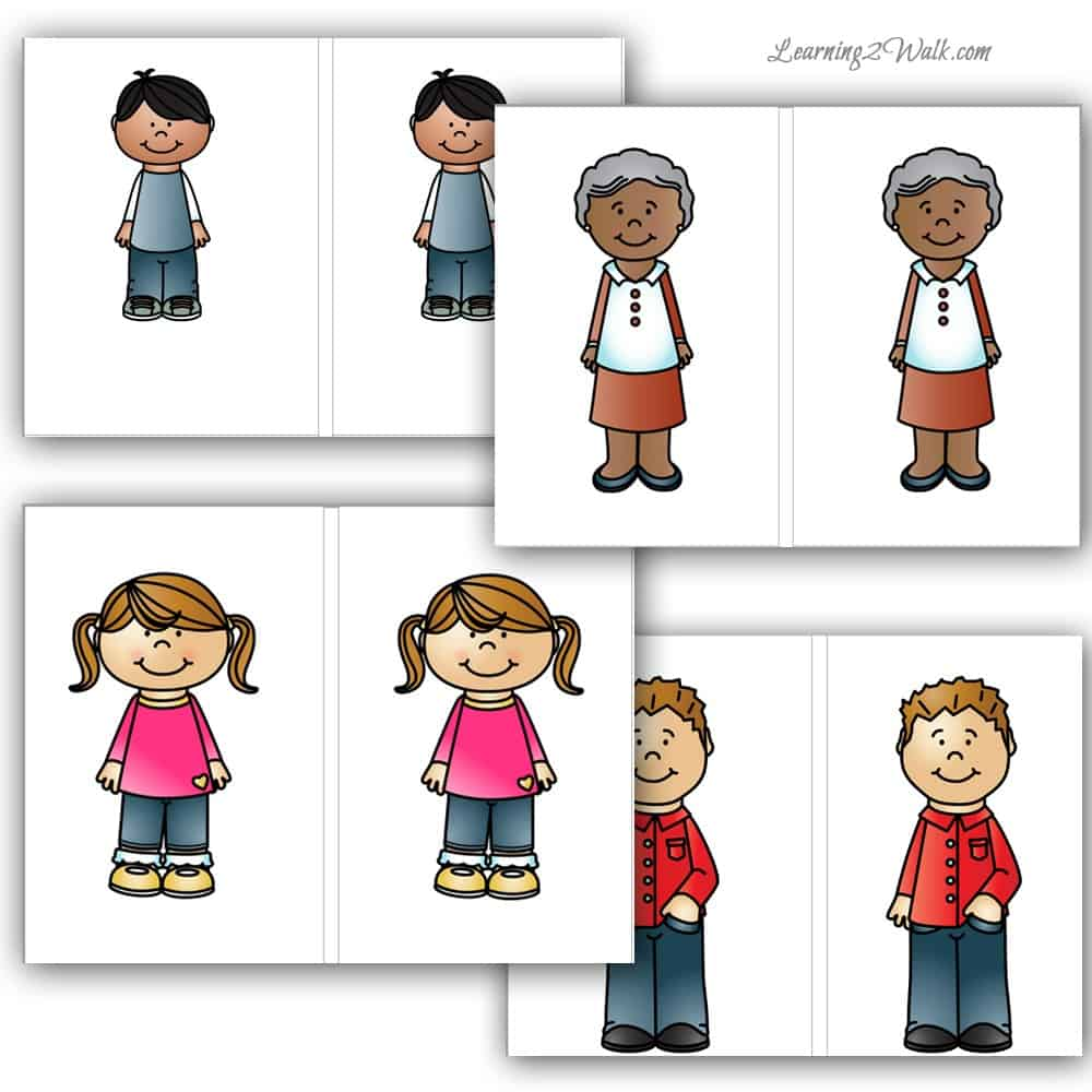 Use these free my family preschool maths theme matching cards for a fun preschool math activity.