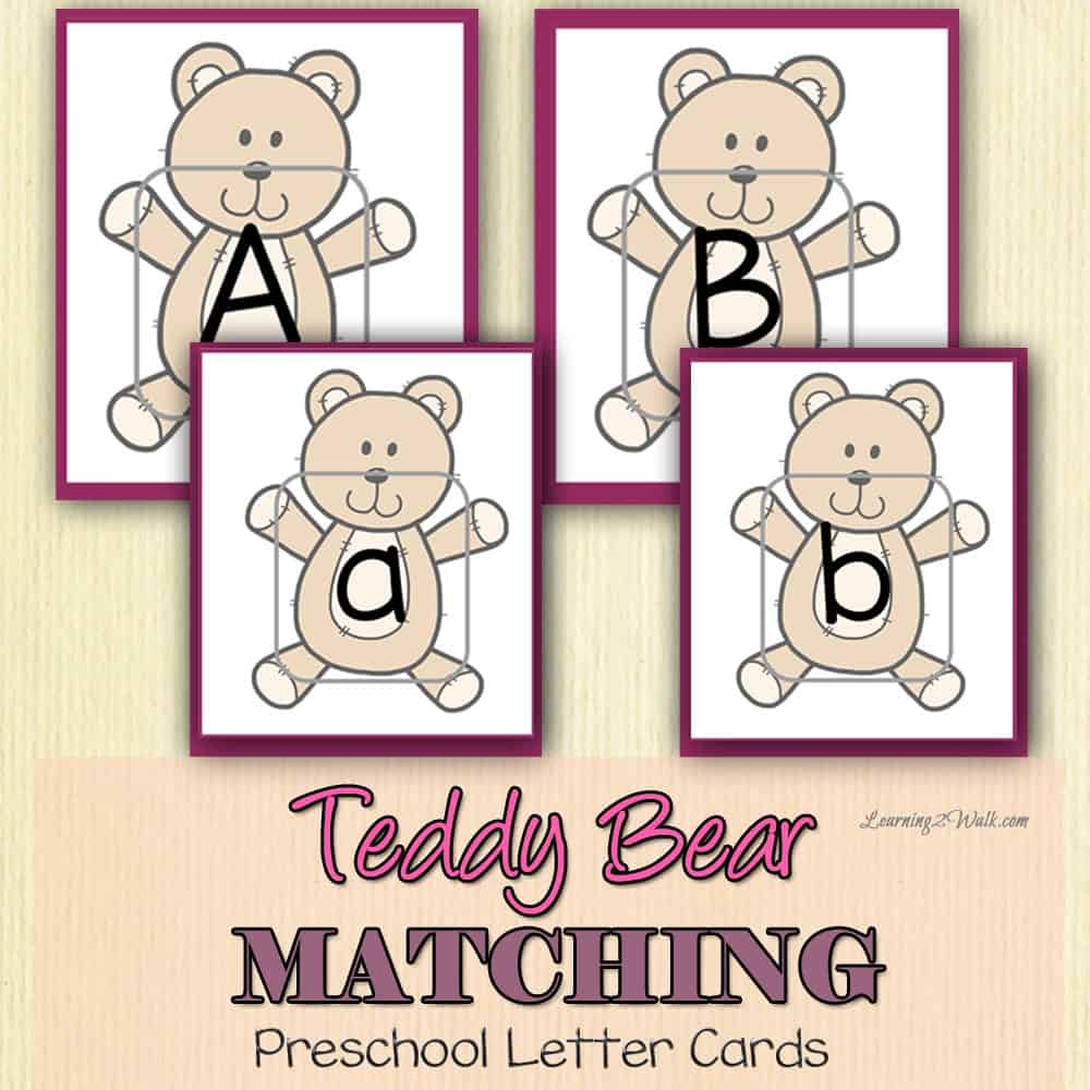 Working on preschool letter identification? How about lower and upper case alphabet matching? These teddy bear cards are just what you need for your preschool letter activities.
