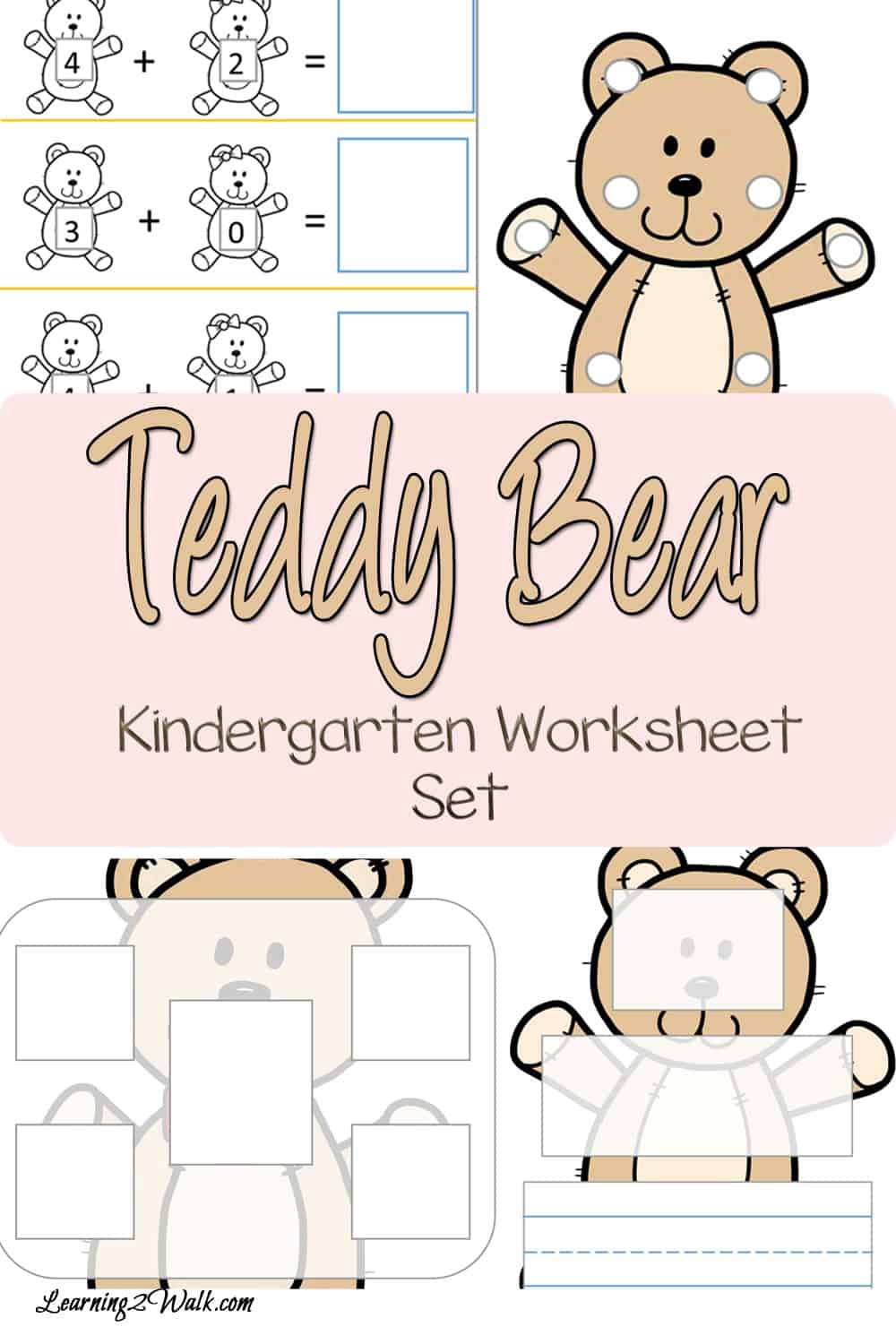 Use this teddy bear kindergarten worksheet set to work on cvc words, addition, lacing and more with your kids.