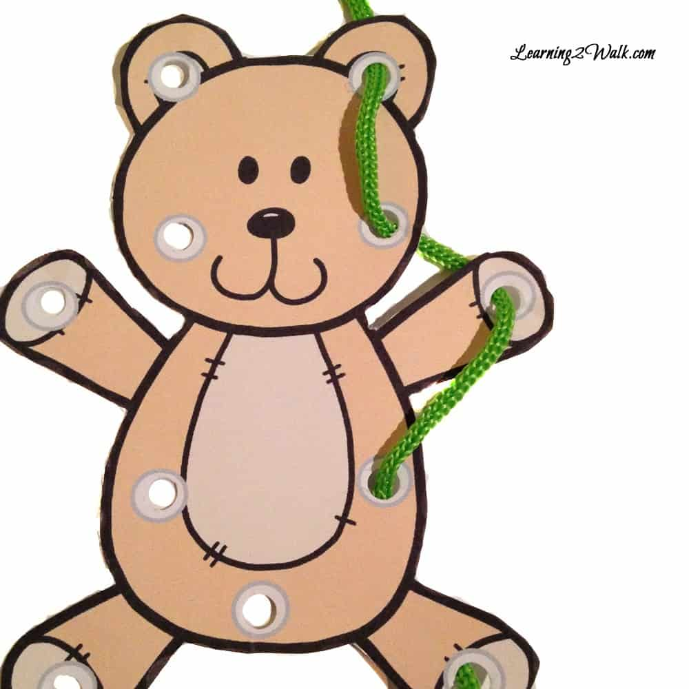 Preschool fine motor activities are an important component of early childhood. Use these free teddy bear lacing cards as a fun activity.