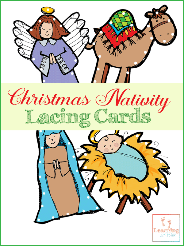 Lacing cards are a great way for preschoolers to practice their fine motor skills. Use these free Christmas Nativity lacing cards to help work on that pencil grasp and fine motor skills.