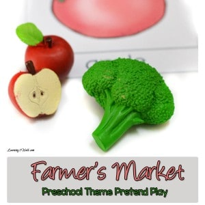 Working on learning fruits and vegetables with your preschoolers? Use this farmer's market preschool theme pretend play activity to help.