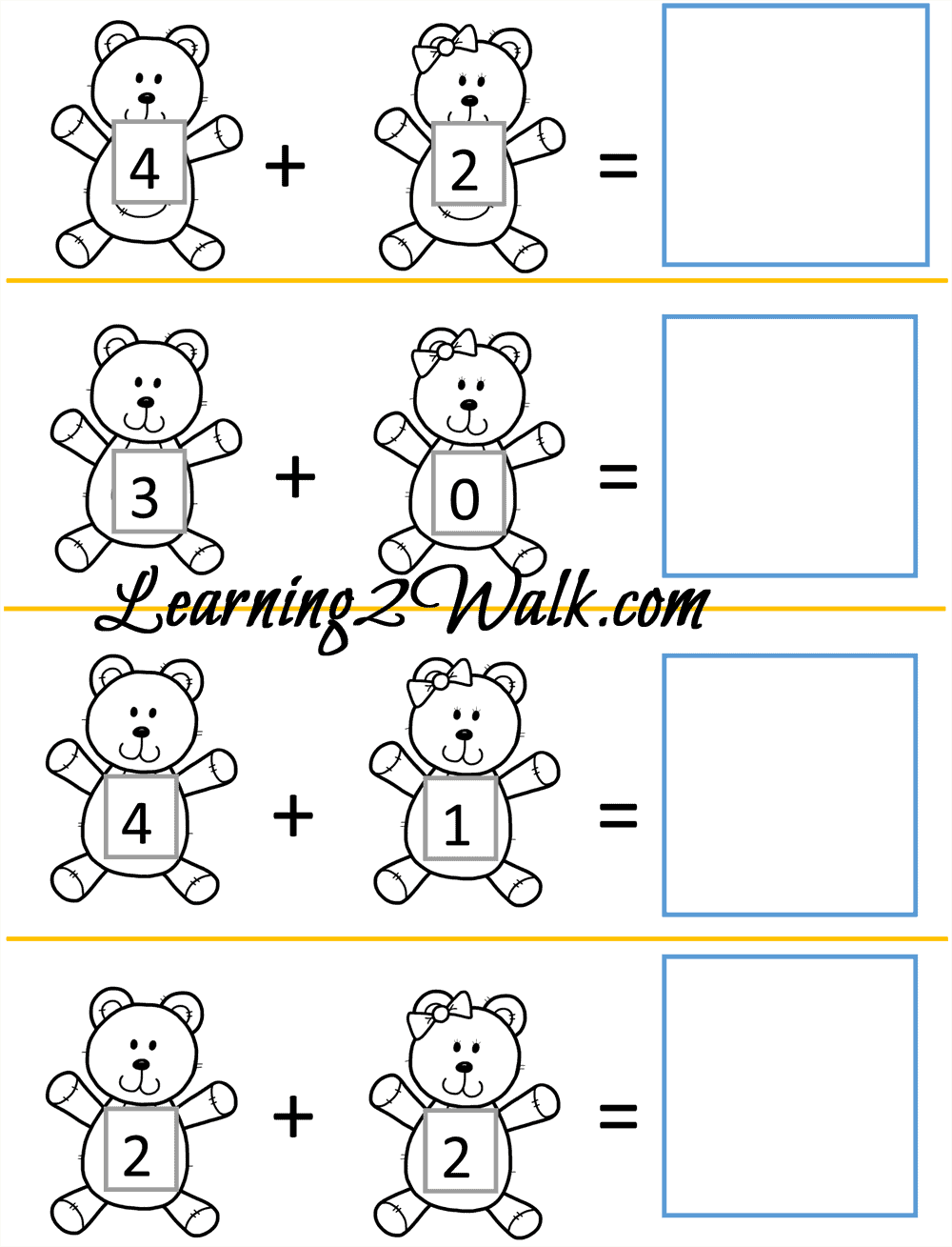 Teddy bear addition kindergarten worksheet