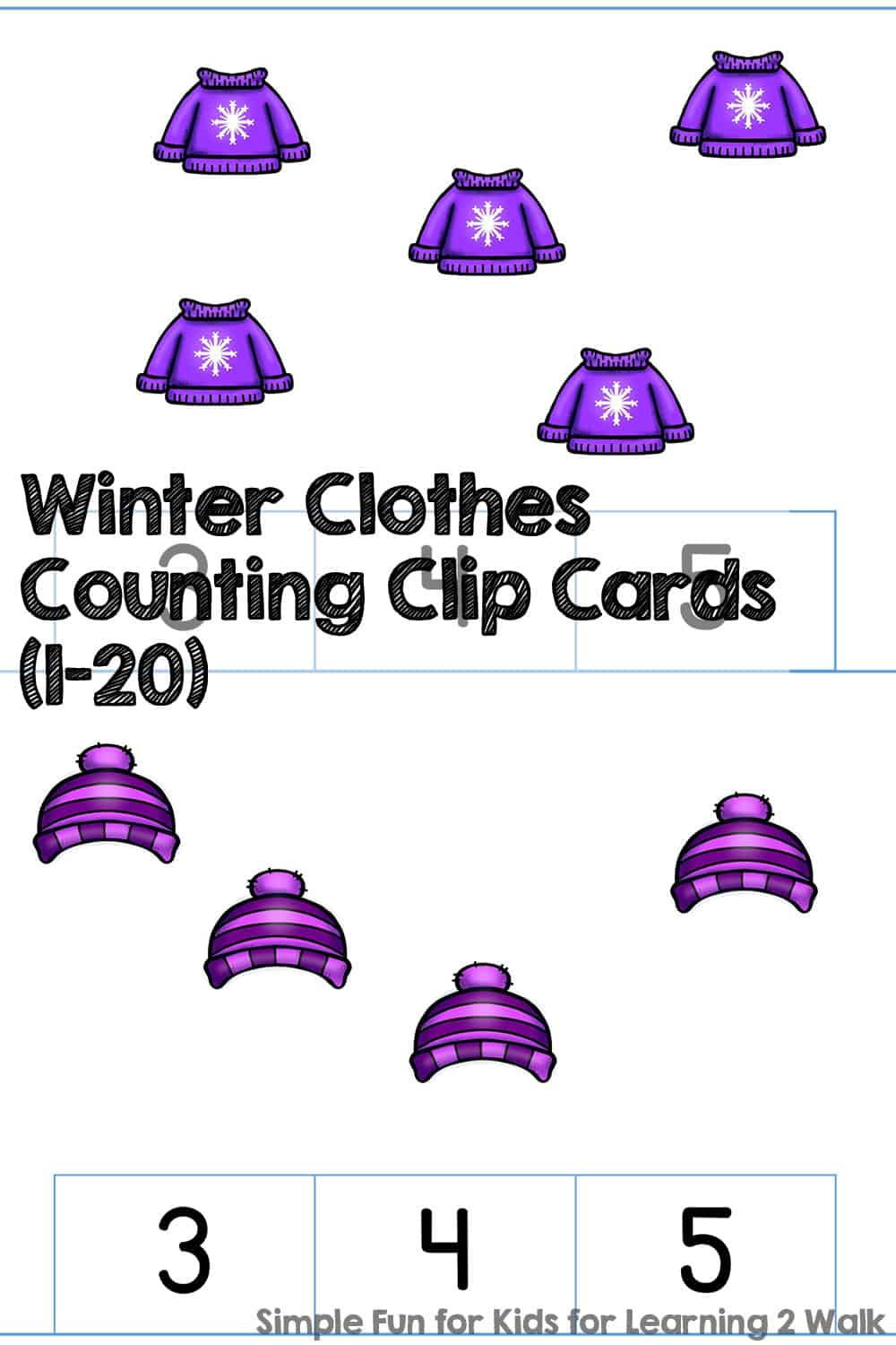 Winter Clothes Counting Clip Cards