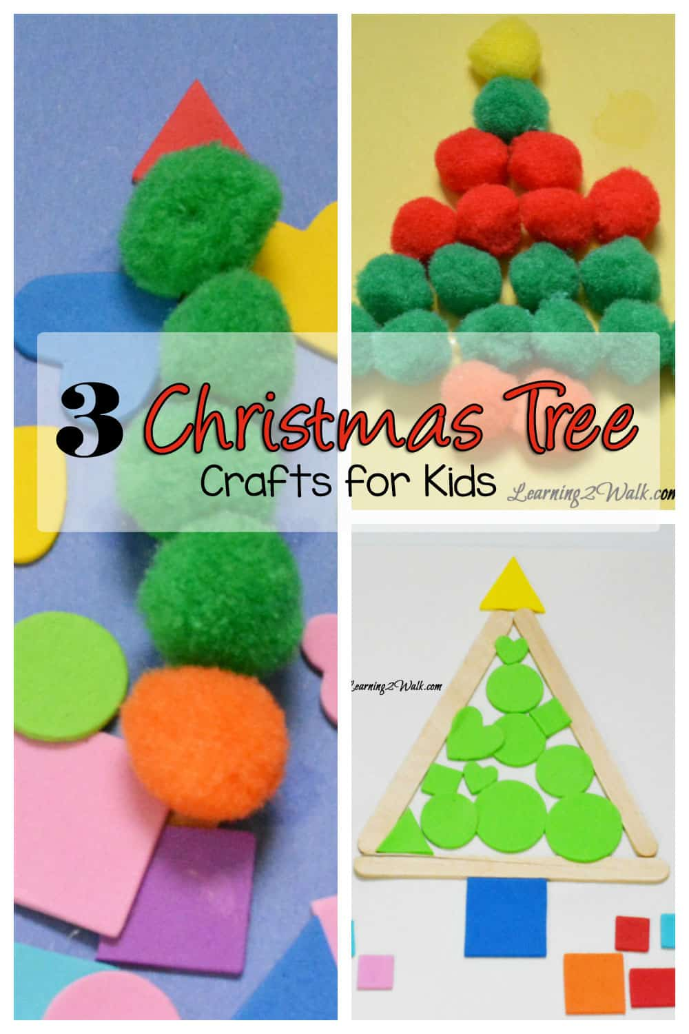 3 Easy Christmas Crafts for Kids with pom poms, stickers and more
