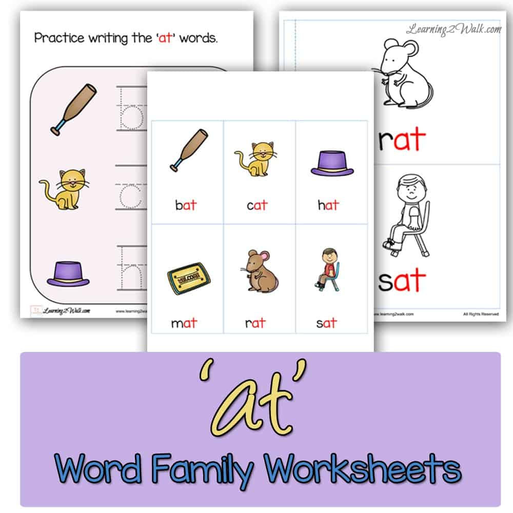 Working on word families? These at word family worksheets are packed with tons of activities such as a coloring book as well as stamping activities.