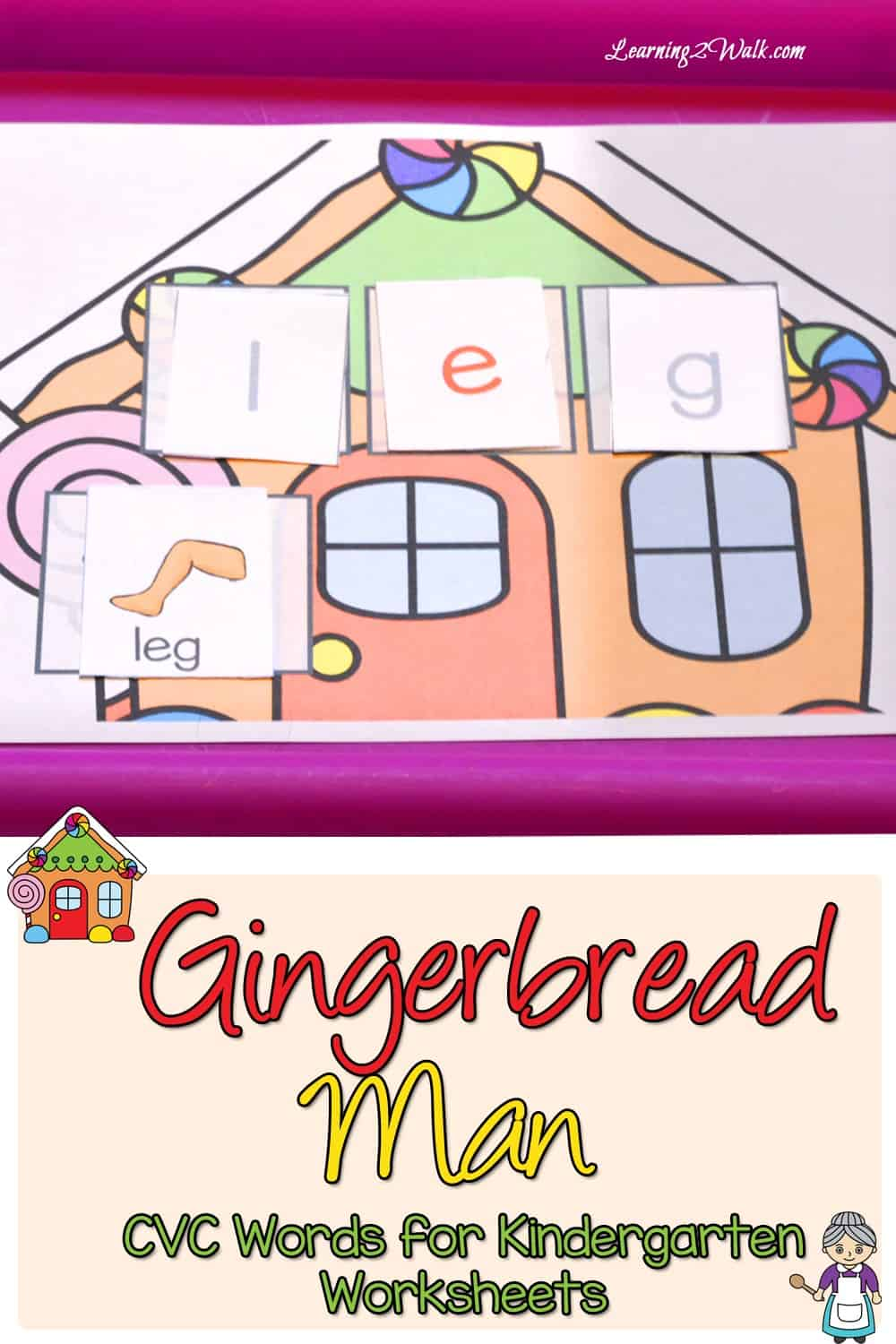 My daughter thoroughly enjoyed playing with her Gingerbread Man CVC Word kindergarten worksheets. I created this as one of our Gingerbread Man activities because she was so fascinated with the story.