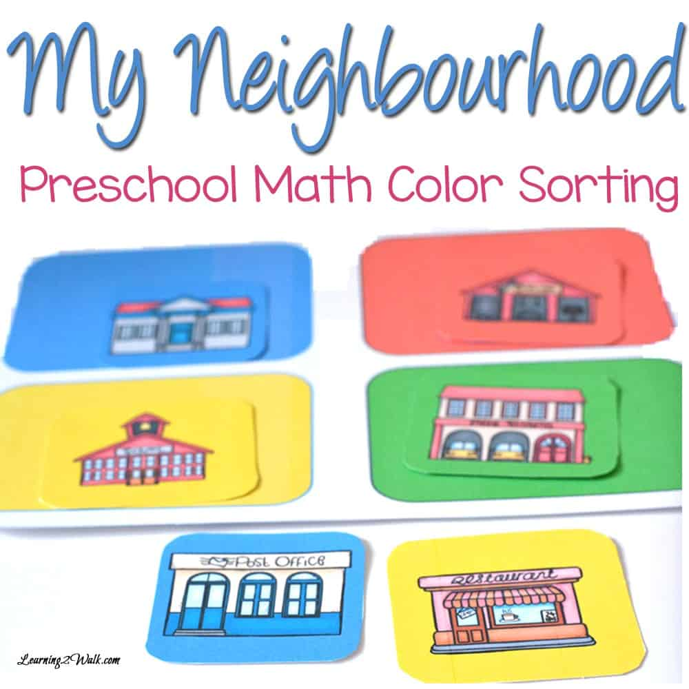 My son really loved this preschool math color sorting activity for the my neighbourhood preschool theme that we did.