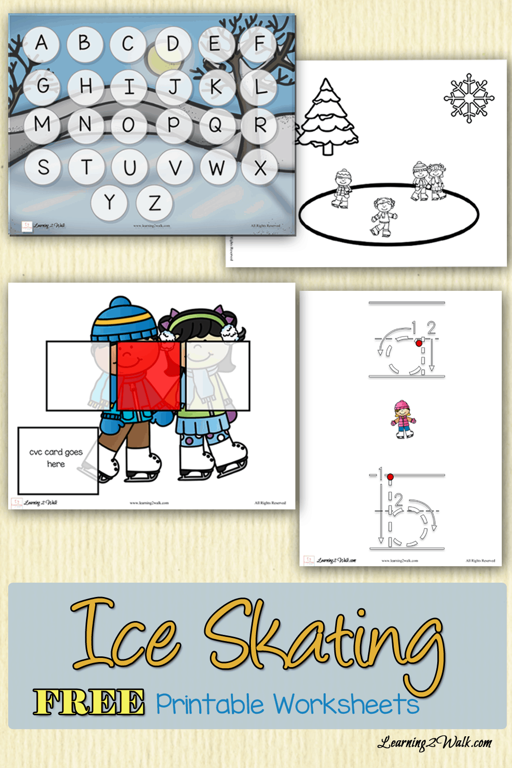 I am loving this ice skating free printable worksheets pack. It has cvc words practice, alphabet activities as well as a few fine motor activities and its all free