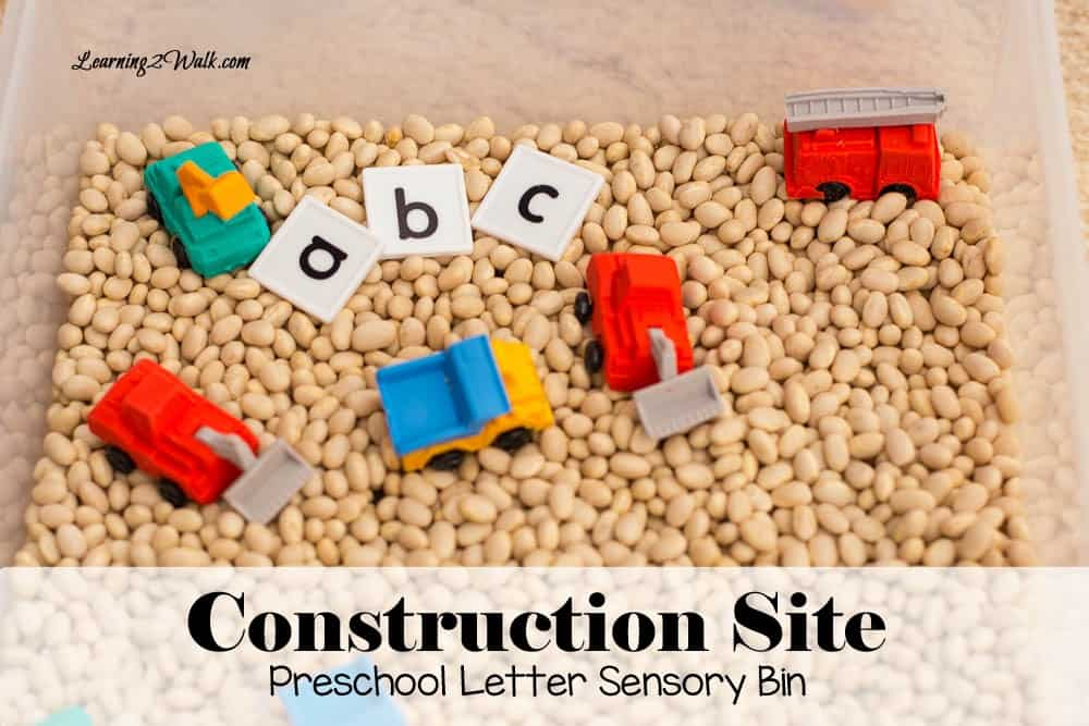 My son loved his construction site preschool letter sensory bin as it helped him work on his lower case letters