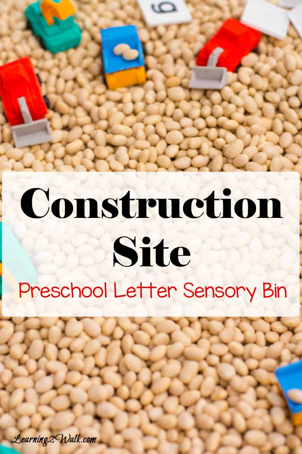 My son loved his construction site preschool letter activity sensory bin as it helped him work on his lower case letters