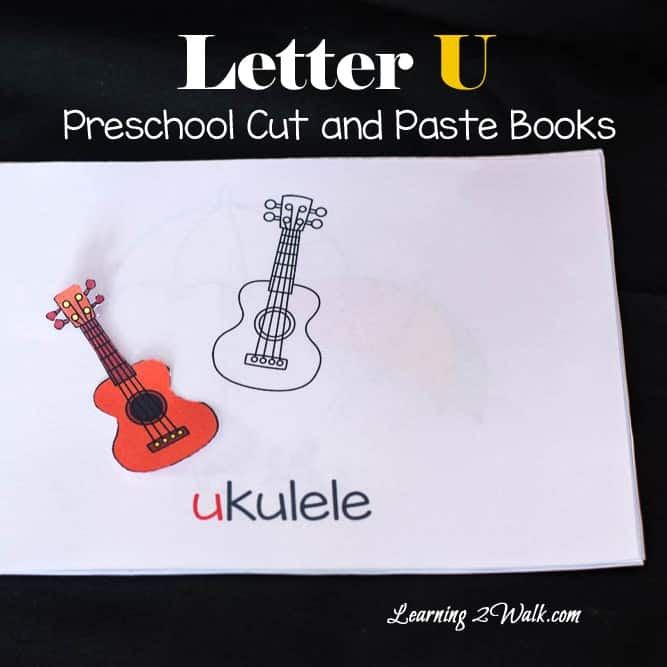 My son thoroughly enjoyed using the glue to create his letter u preschool book.