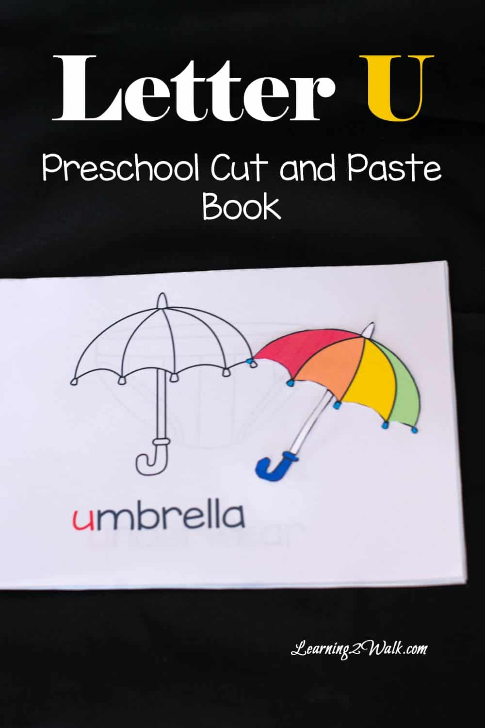 Letter U Preschool Cut and Paste Book