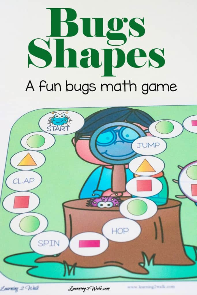 Looking for a few bugs fun kids math games? Try this print and go bug shapes game to help your kids understand shapes and work on gross motor skills.