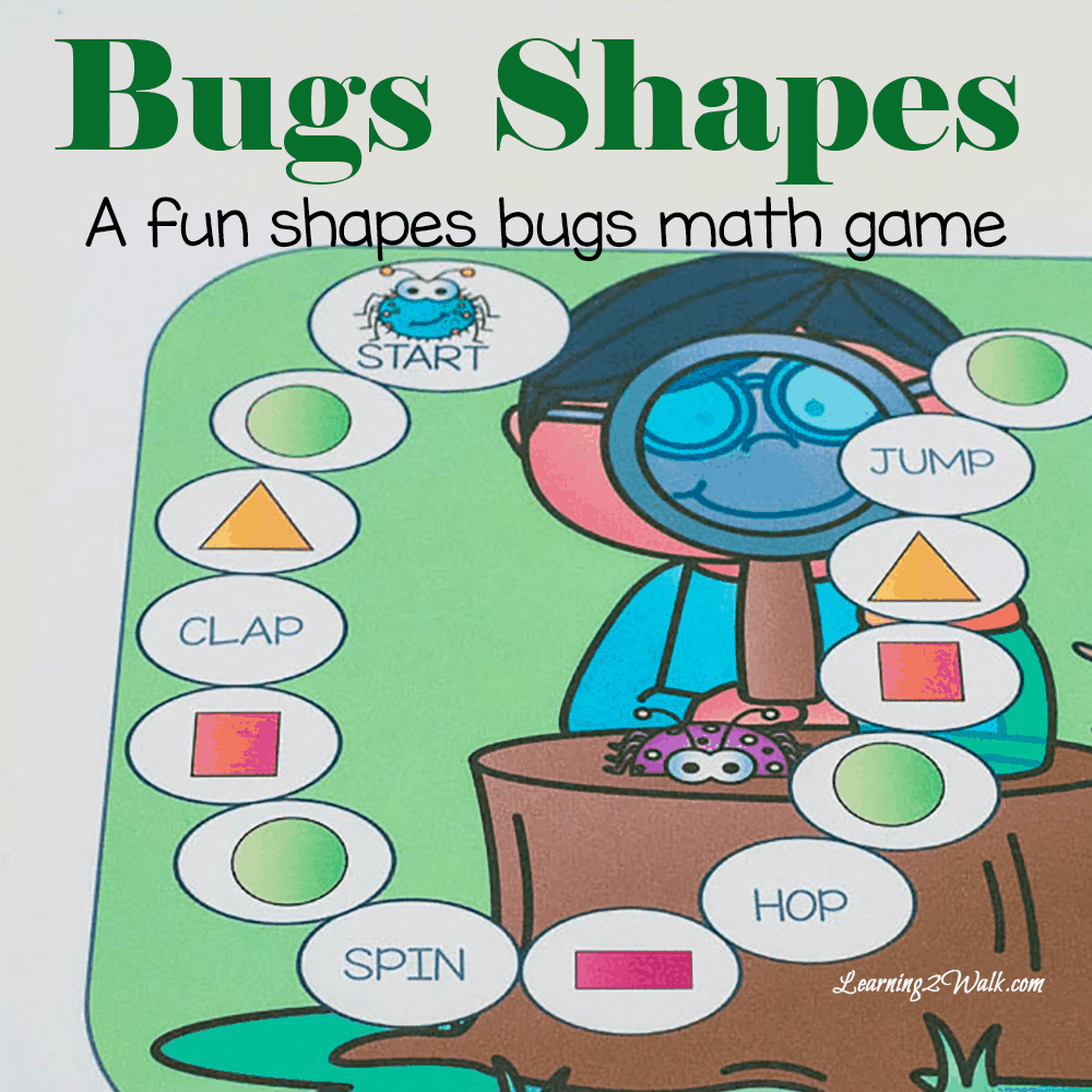 Looking for a few bugs fun kids math games? Try this print and go bug shapes game to help your kids understand shapes and work on gross motor skills