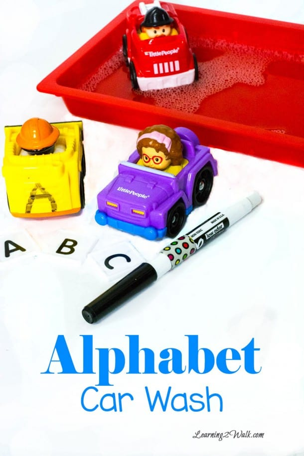 Loving this alphabet car wash activity- it helps with preschool letter recognition, writing the alphabet as well as fine motor skills