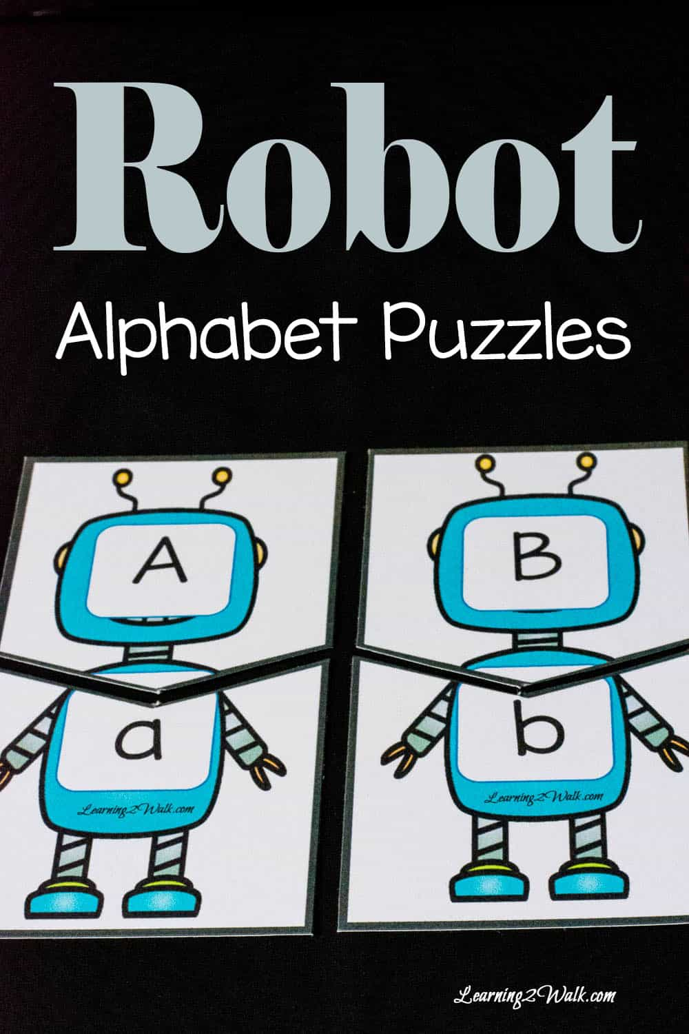 Use thes fun robot alphabet puzzles to help with preschool letter recognition