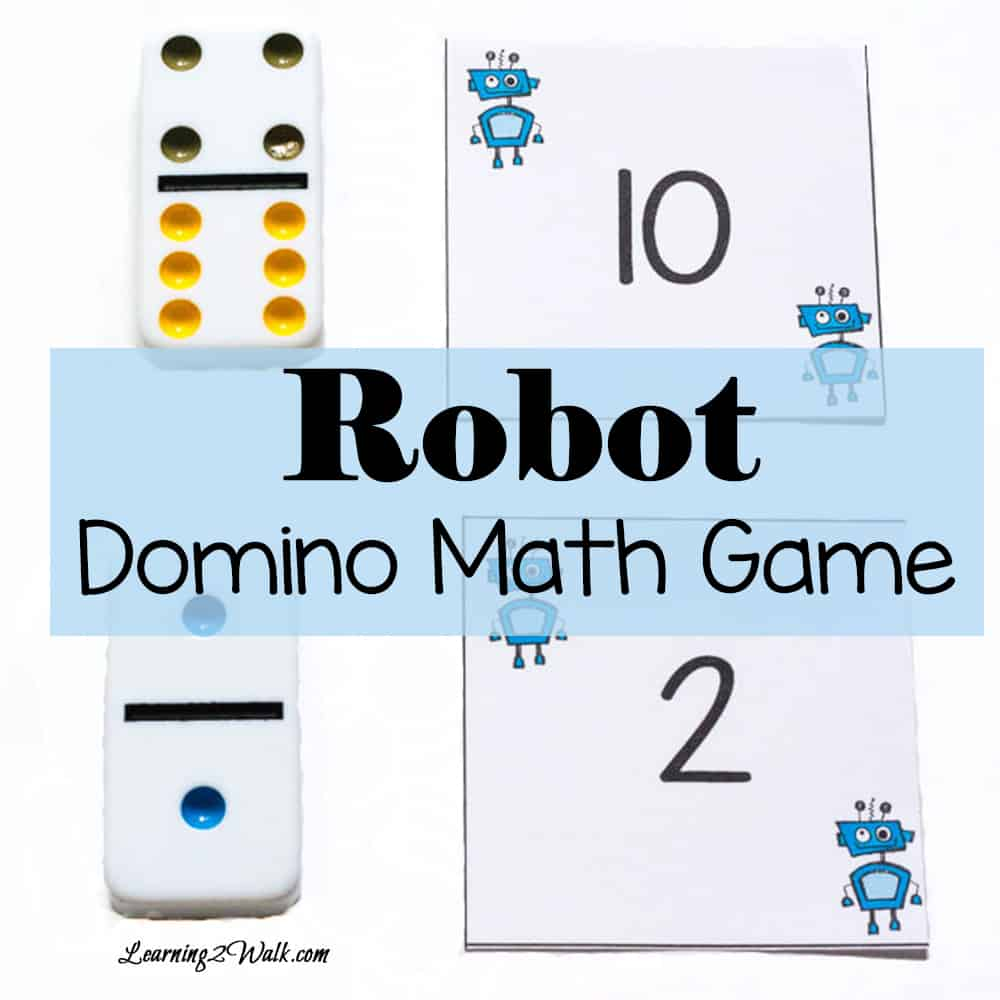 Play this fun robot domino math game to help with subsitizing as well as number recognition. All you need are dominoes and a set of cards.