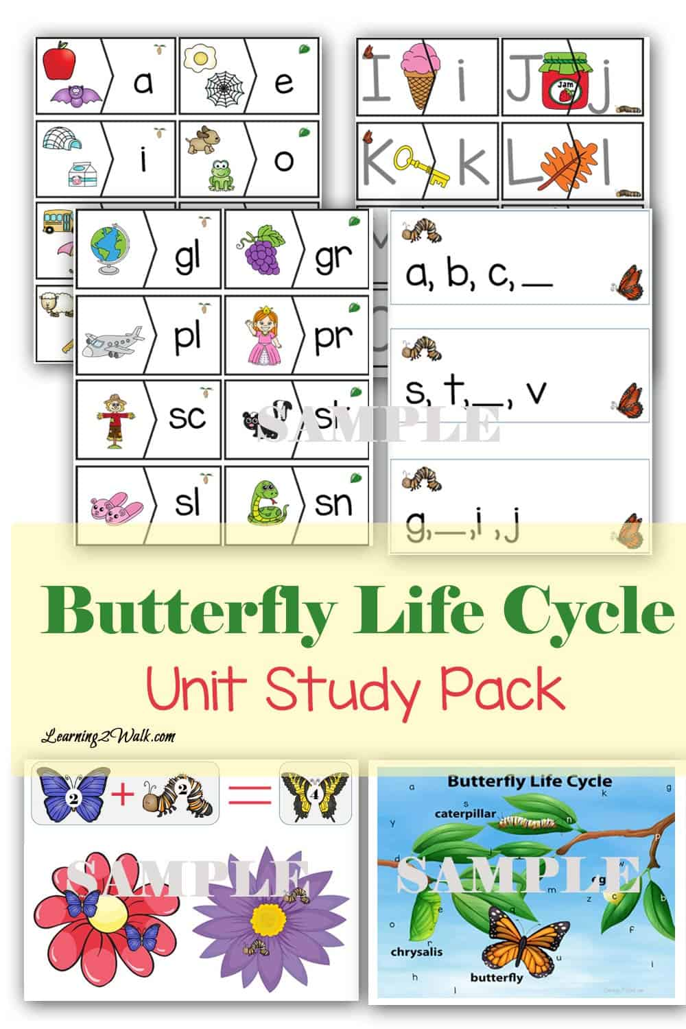 Use this fun packed butterfly life cycle unit study pack to help your kids work on their alphabet with preschool letter puzzles, consonant blends activities as well as short vowels and other preschool math and kindergarten math such as addition activities.