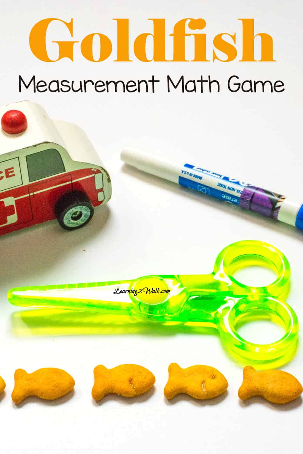 Have your kids work on measurement and guessing with this fun goldfish measurement math game