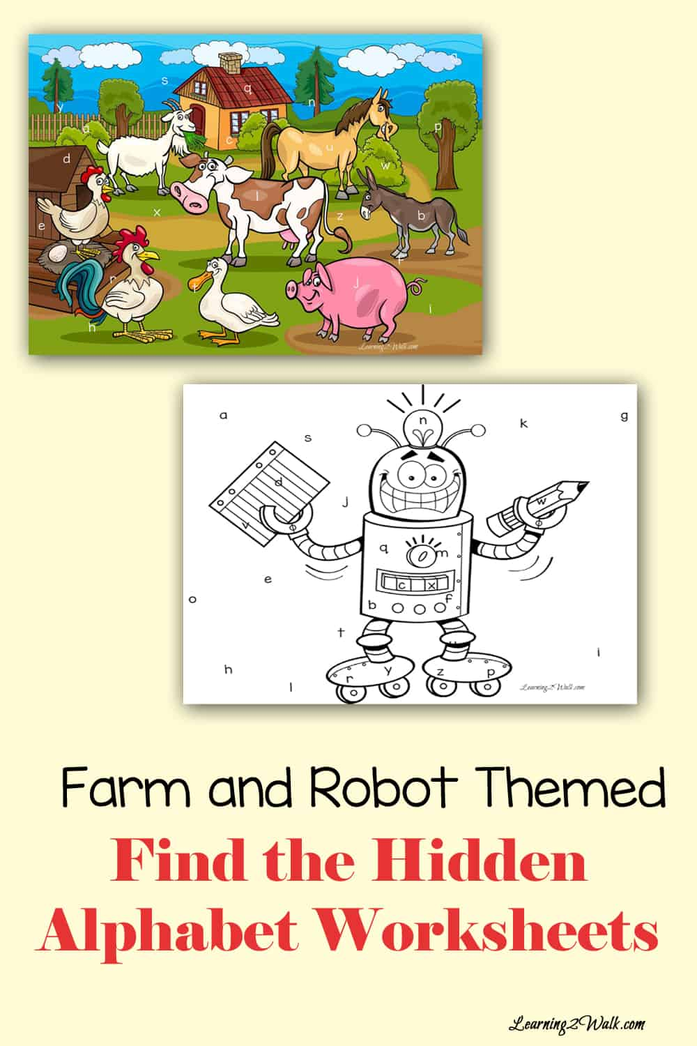 Use these farm and robot alphabet worksheets to help your kids work on letter recognition