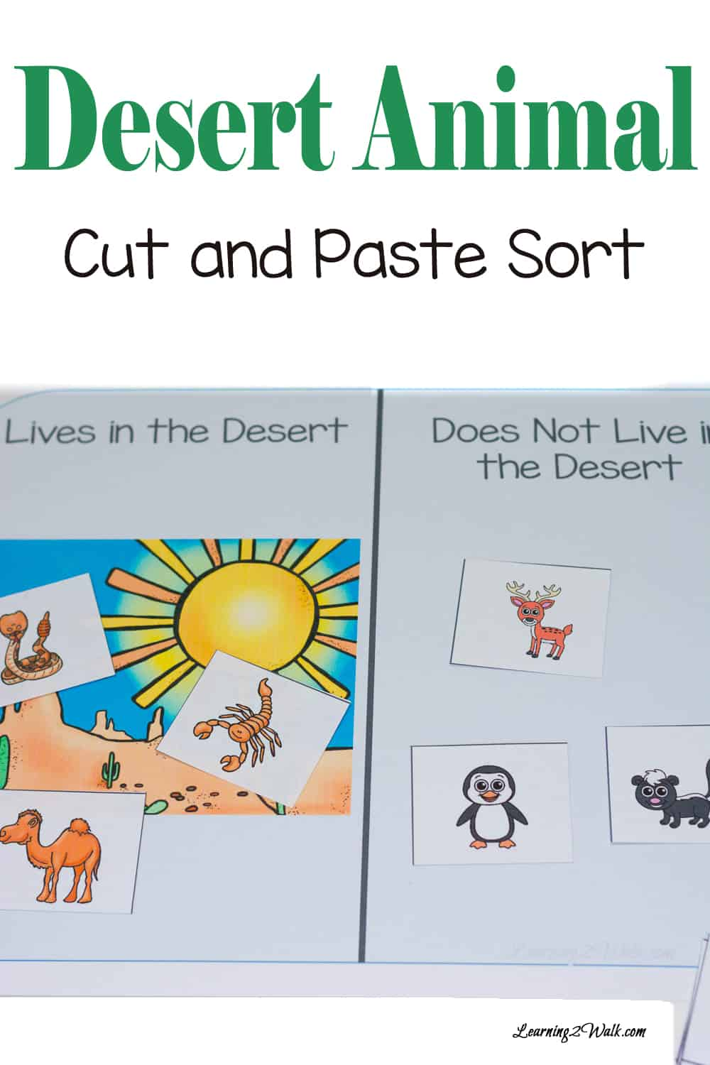 Your kids will have fun with this free desert animal cut and paste sorting that will help them sort animals but improve fine motor skills as well.