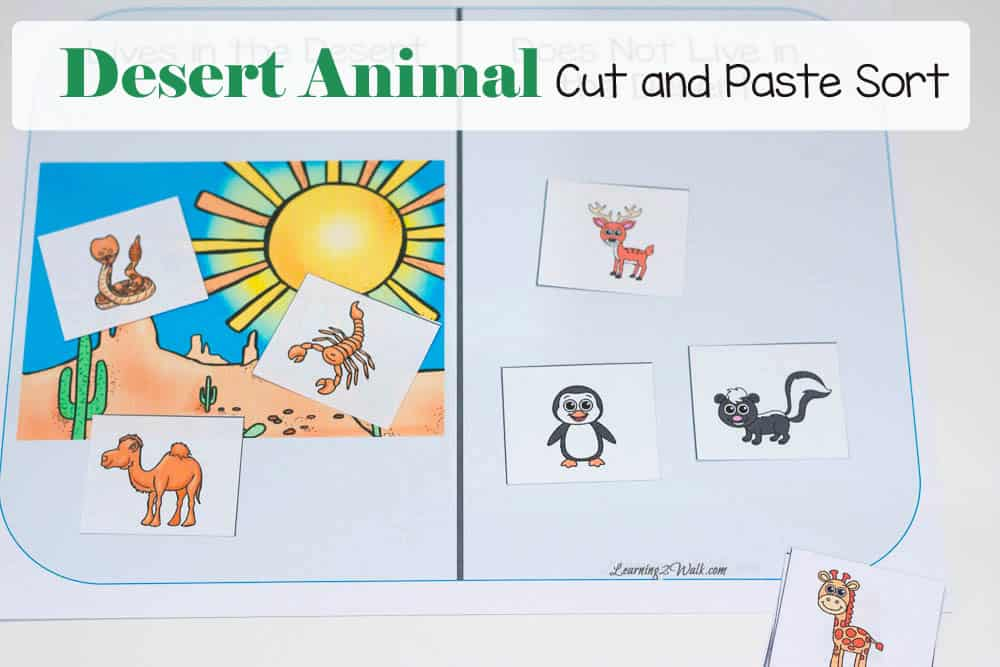 Desert Animal Cut And Paste Sort
