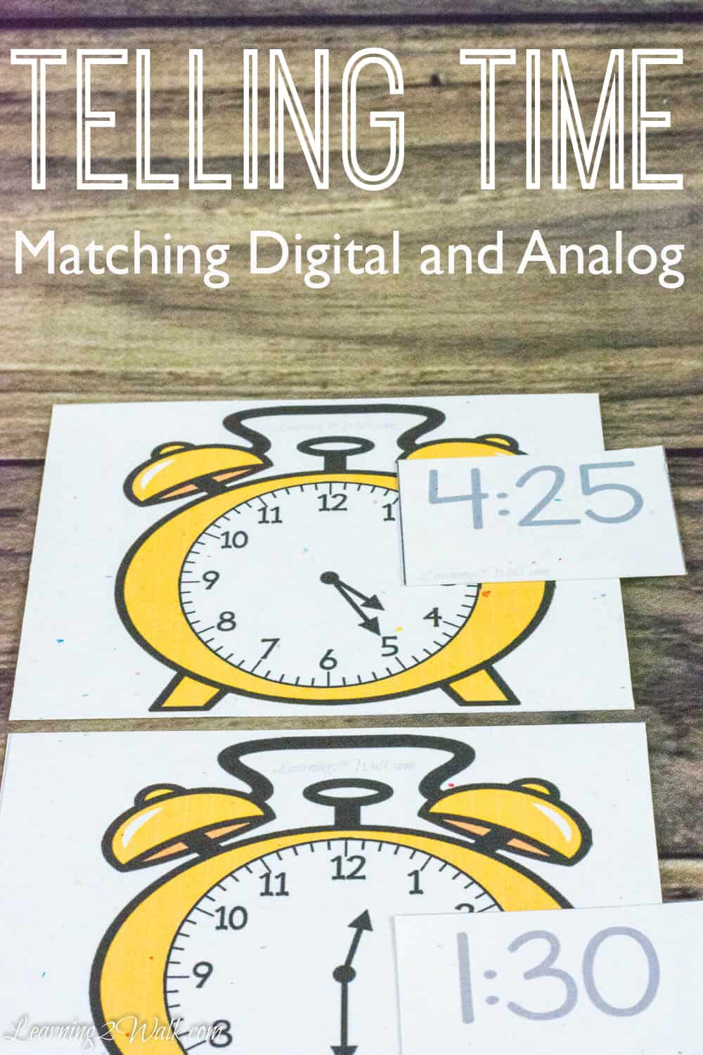 printable time telling game telling time matching digital and analog 5294