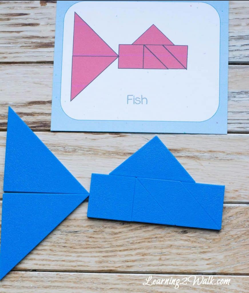 Use these ocean animals tangram cards to help your kids further play with their tangrams